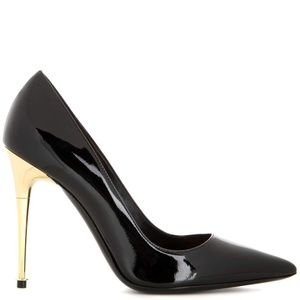 Tom Ford Patent Leather Heels Gold Spike Heel 40